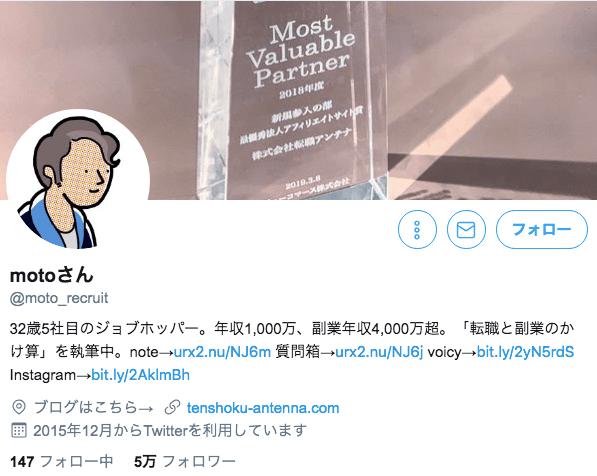 motoさんのツイッター